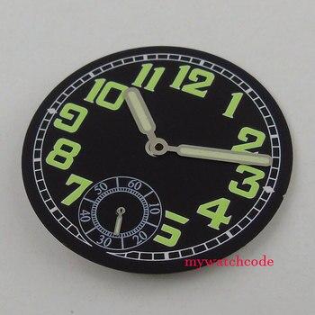 35mm czarna świecąca tarcza fit eta 6498 sea-frajer 3620 zegarek z czujnikiem ruchu (tarcza + ręka)