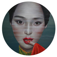 Oil Painting Canvas Hand painted Modern art Portrait Paintings Chinese Artist LingJian Women Picture Home decoration 36x36Inch