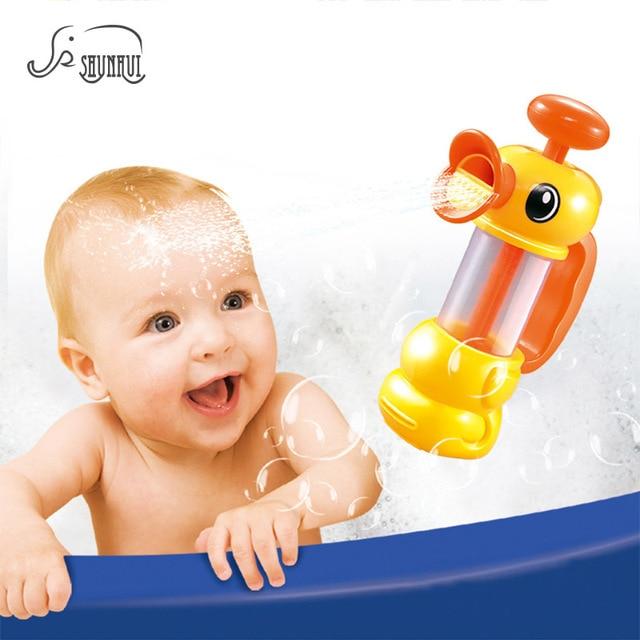 Cute Duck Pumper Baby Bath Toys Non Toxic Water Spraying Bathtub ...