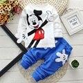 Mickey Meninos Das Meninas Do Bebê Conjuntos de Roupas de Minnie Mouse Dos Desenhos Animados Crianças Camisas de Impressão T + Calça de Esporte Ternos de Trilha Vetement Enfant Fille