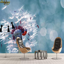 beibehang Custom wallpaper modern minimalist refreshing dandelion seven-star ladybug close-up TV background wall papel de parede(China)