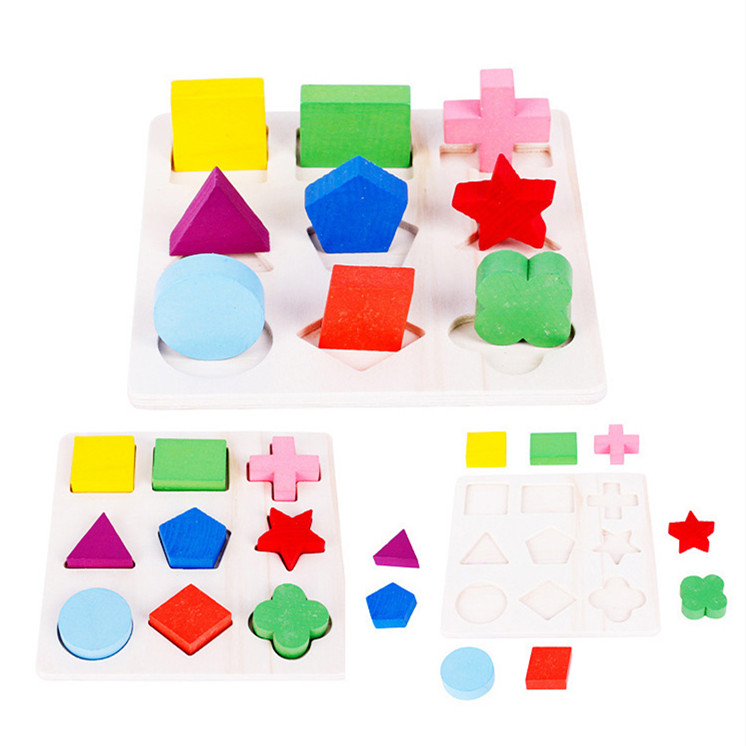 New Arrive Montessori Early Childhood Children Wooden Toys Three-dimensional Jigsaw Puzzle Kids Geometric Shape Puzzles MG01