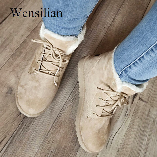 Designer Ankle Boots For Women Female Fur Lace Up Botas Mujer High Quality Snow  Boots Suede Plush Sewing Botas Zapatos Mujer d666c9bb9