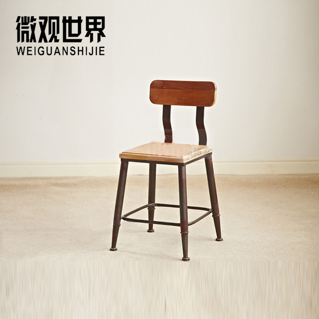 American Vintage Iron Stool Wood Low Back Chair Loft Chairs Do The