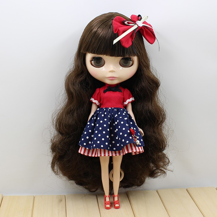 Neo Blythe Doll Red Blue Dress with Bowknot 3