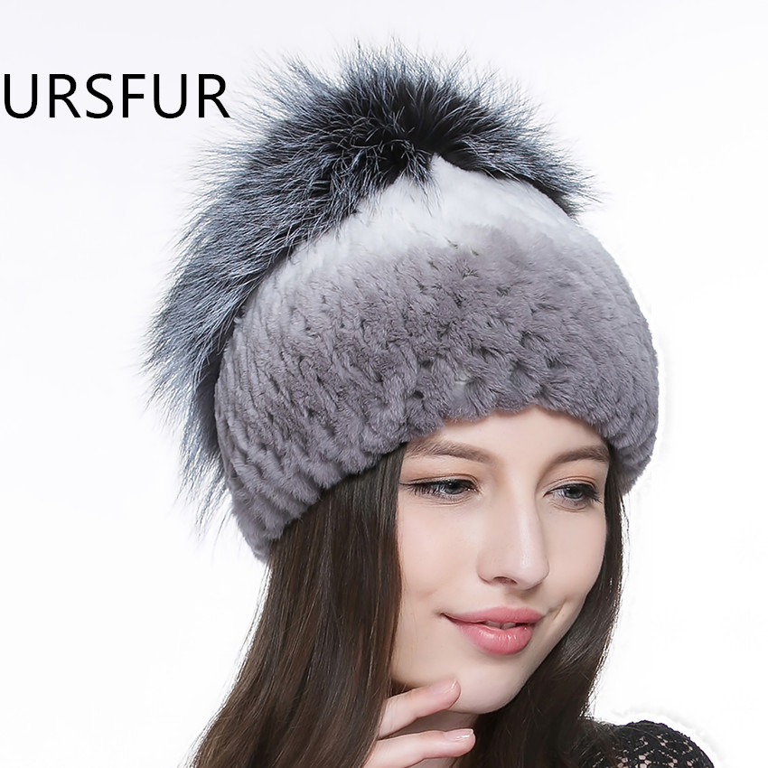 d086970b138 URSFUR Rex Rabbit Fur Knit Hat Women s Beanie Fur Hat With Fluffy Fox Fur  Pom and Rose Flower On Top Winter Warm Thick Skullies-in Skullies   Beanies  from ...