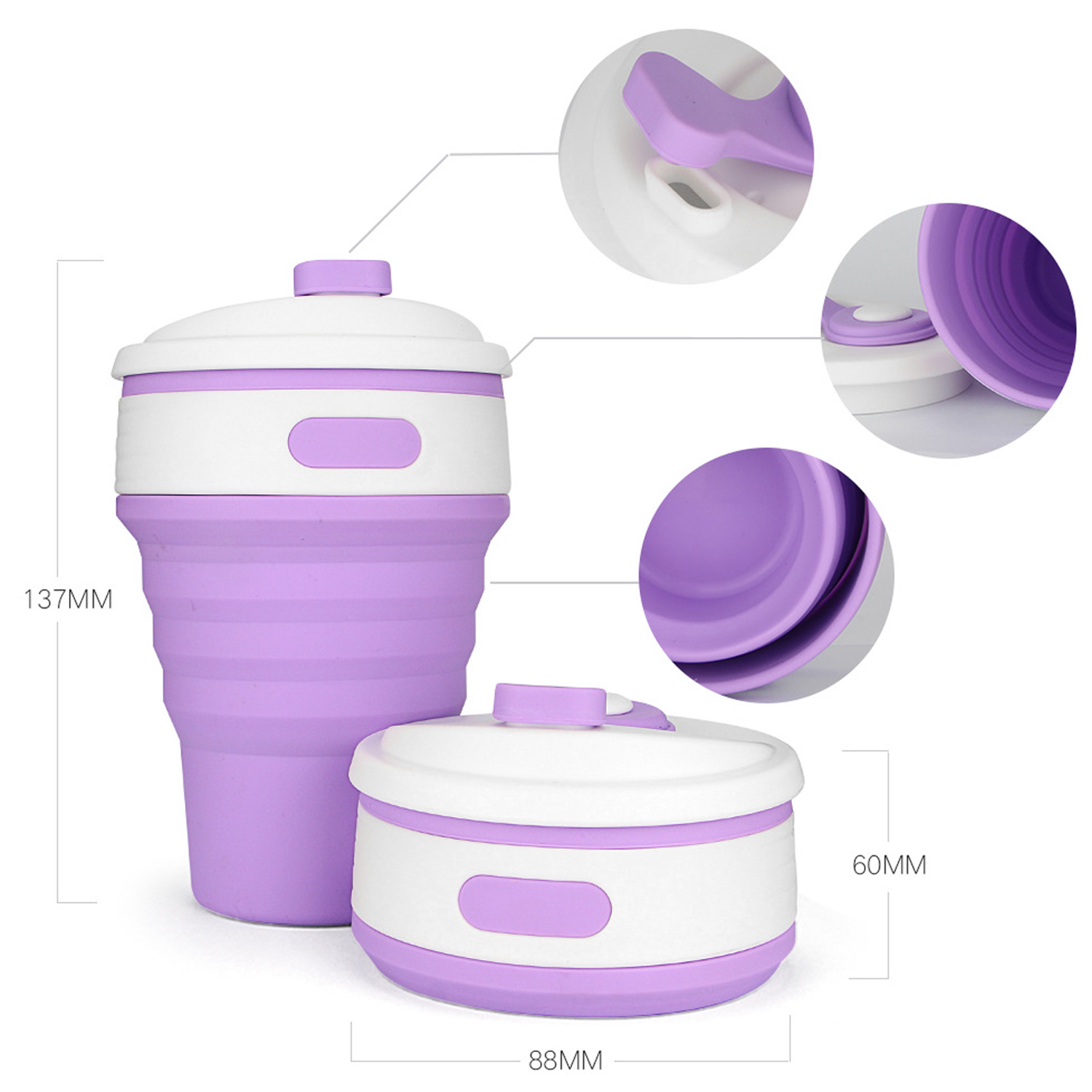 Behogar 350ml Drinking Cups Travel Silicone Retractable Folding Water Cups Coffee Tea Cup Drinking Bottle for Camping Hiking