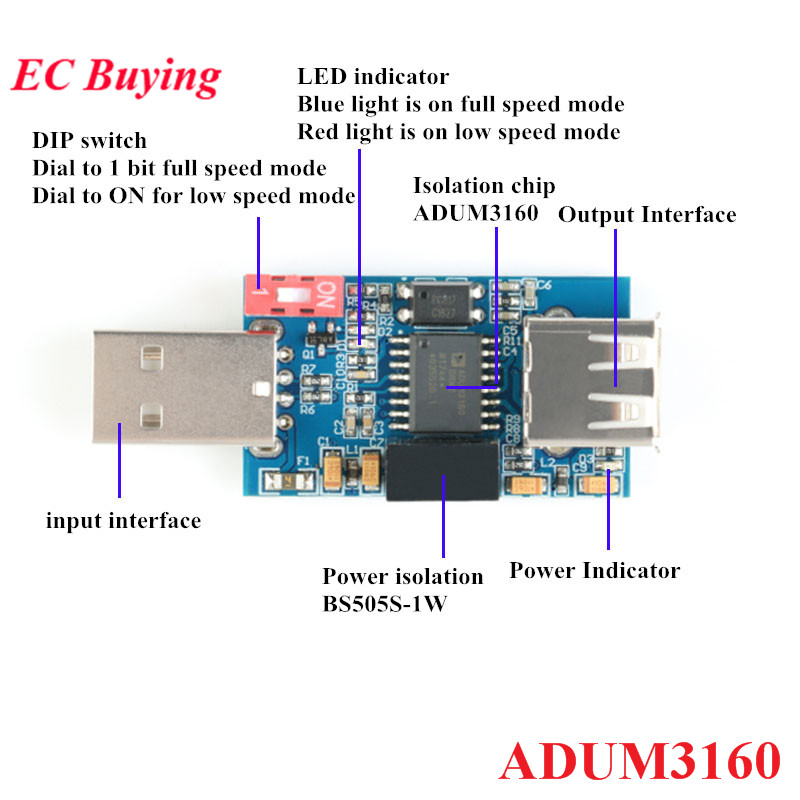 USB Isolator 1500V Isolator ADUM3160 Module Coupling Protection Board USB To USB Isolation With USB 2.0
