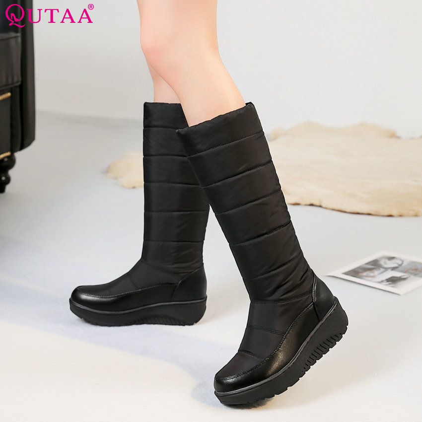 QUTAA 2019 Snow Boots Fashion Women Knee High Boots Platform Winter Boots Women Shoes Keep Warm Elegant Women Boots Size 35-44 fashion keep warm winter women boots snow boots 2017 buckle cotton boots women boots shoes