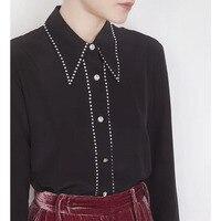 Cosmicchic шифоновая шелковая рубашка с длинным рукавом Бриллиантовая пуговица острый воротник блузка черный, белый цвет повседневное взлетно