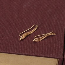 2017 Vintage Jewelry Exquisite Gold Color Leaf Earrings Modern Beautiful Feather Stud Earrings for Women