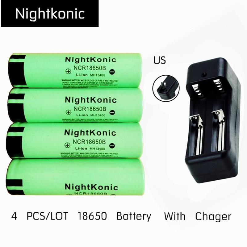 Original Nightkonic 4 PÇS/LOTE 18650 Bateria + EUA Carregador de Bateria recarregável 3.7 V li-ion 18650B Flat top