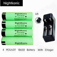 Original Nightkonic 4 PCS/LOT 18650 Battery + US Charger rechargeable Battery  3.7V li-ion 18650B Flat top