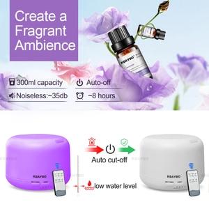 Image 4 - Ультразвуковой увлажнитель воздуха KBAYBO, 300 мл, диффузор эфирного масла, электрический пульт дистанционного управления, ароматерапия с цветными лампами
