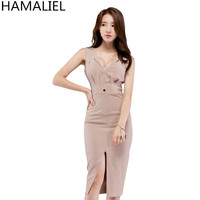 HAMALIEL Sleeveless Sheath Pencil Work Women Dress 2018 Summer Fashion Sexy Deep V Neck Bodycon Formal Split Office OL Dress