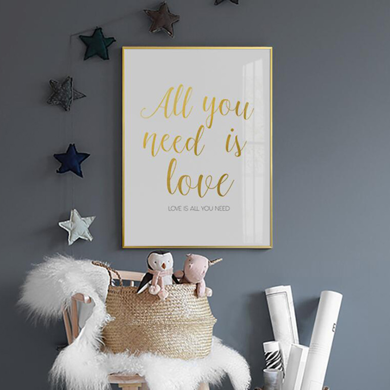 Nordic Poster Gold Kids All You Need Is Love Posters And Prints Cartoon Kid Room Wall Art Canvas Painting Canvas Art Unframed
