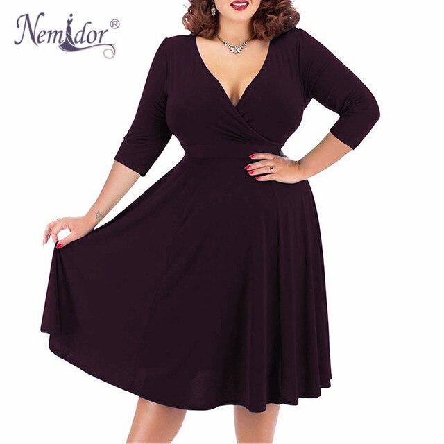 Nemidor Kobiety Sexy V-neck Krótki Rękaw 50 s Party-Line Sukienka Vintage Rozciągliwy Midi Plus Size 7XL 8XL 9XL koktajlowa sukienka typu swing - aliexpress