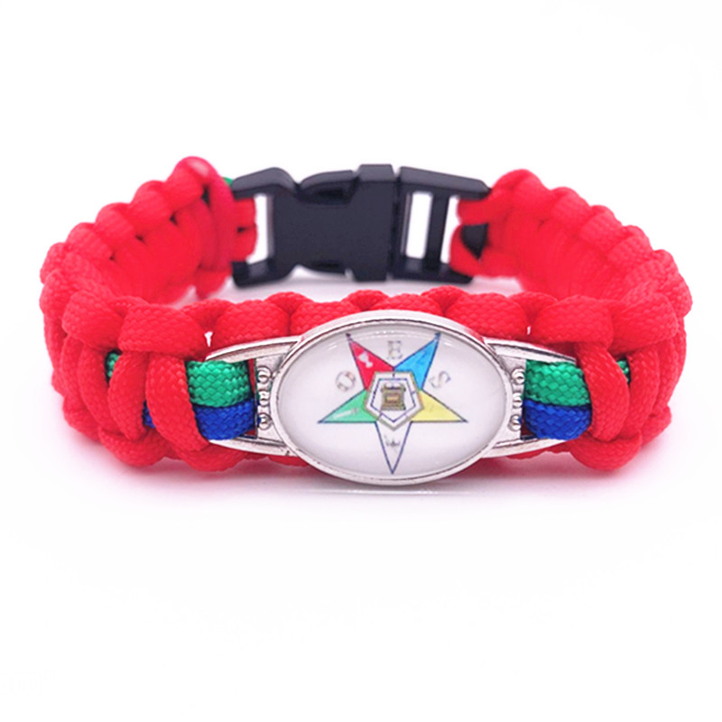Eastern Star OES Charm Survival Paracord Bracelets & Bangles Friendship Outdoor Camping Bracelet Jewelry For Man Woman 1pcs/lot