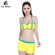 LEBESI 2017 New Bikinis Set Three-Piece Swimsuit For Women Boxers S M L Plus-Size Pink Yellow Women Bikini Underwire Swimwear