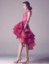 Red Elegante 2016 Abendkleider High Low Tiered Rüschen Formale Kleider Für Hochzeit Vestido De Festa Longo Schnelles Verschiffen
