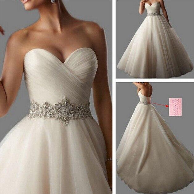 2016 New Style Fashion Beads Crystal White Ivory Wedding Dresses For Brides Plus Size Maxi Formal Sweetheart 18w 20w 22w 24w 26w