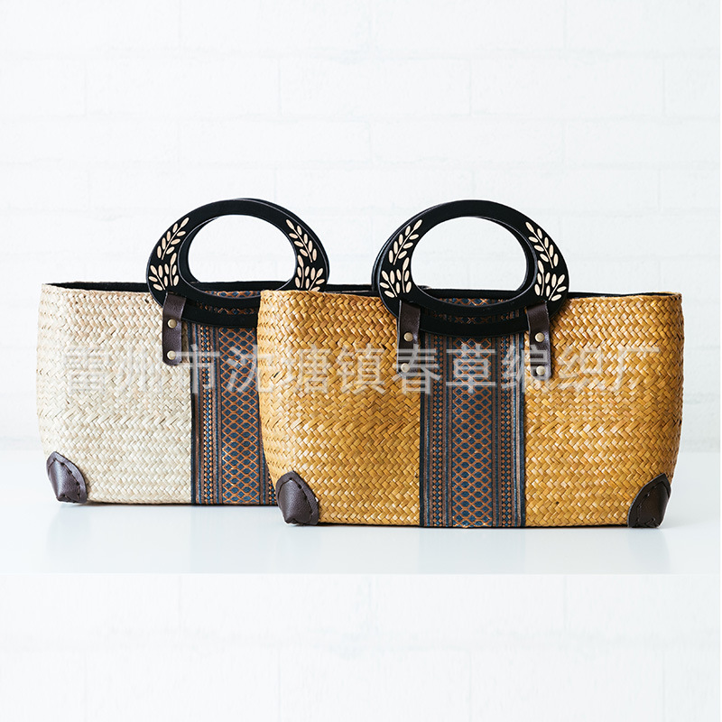 2017 European and American style Thai version of the straw bag handbag retro fashion women's rattan weaving beach bag
