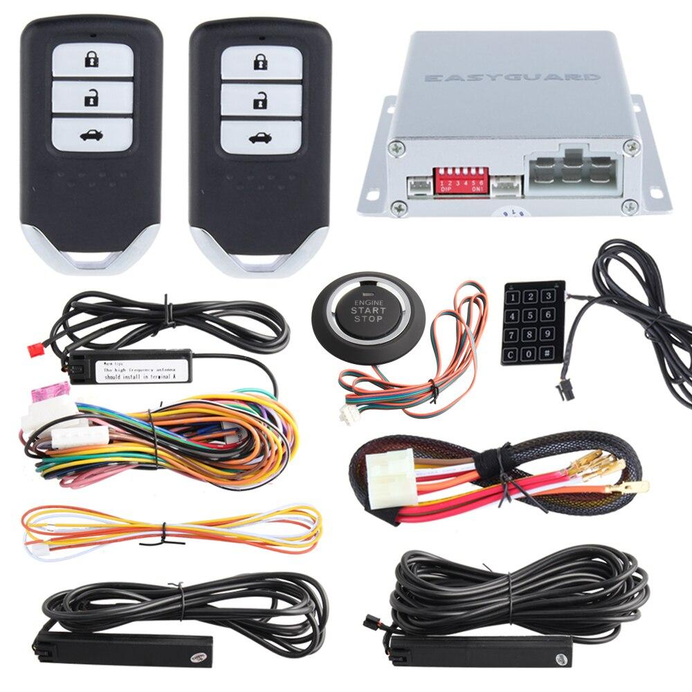 EASYGUARD PKE passif sans clé entrée code de roulement auto voiture alarme démarreur à distance bouton poussoir démarrage arrêt mot de passe entrée clé intelligente