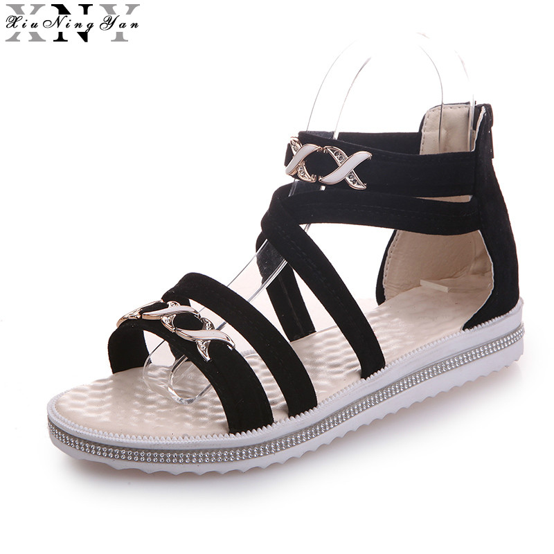 Summer Fashion Flip Flops Women's Beach Sandals String Bead Black Bands Flat Shoes Gladiator Sandalias Mujer for Women 2017 6/30