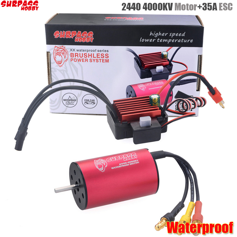 Surpass Hobby 2440 4000kv Brushless <font><b>Motor</b></font> + 35A Brushless Speed Controller ESC Waterproof <font><b>2S</b></font> For 1/16 RC Car image