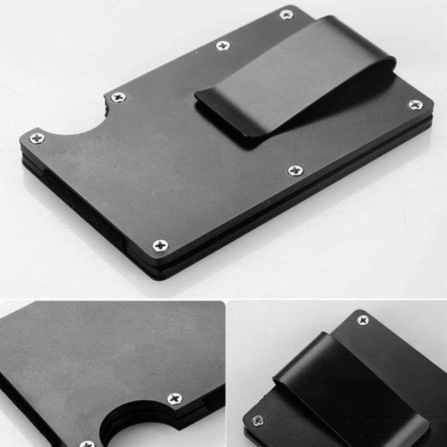 Unisex New Fashion Wallets Slim Carbon Fiber Credit Card Pockets RFID Blocking Metal Money Clips Purse Wallets