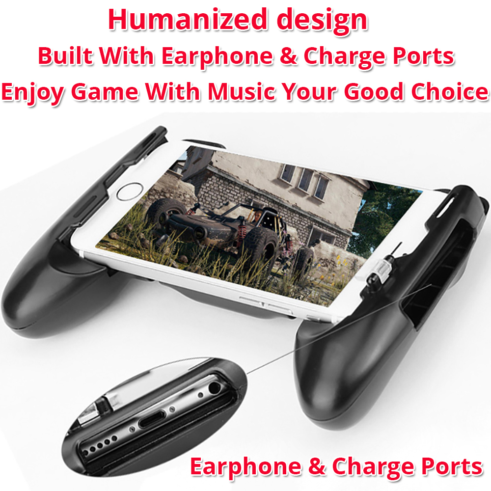 gamepad phone grip with earphone and charge ports