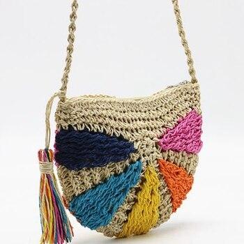 090d1f71f4be ABDB-модные летние пляжные сумки кружка-термос с соломкой, богемная  кисточка, сумка через плечо, ротанговое плетение, сумка