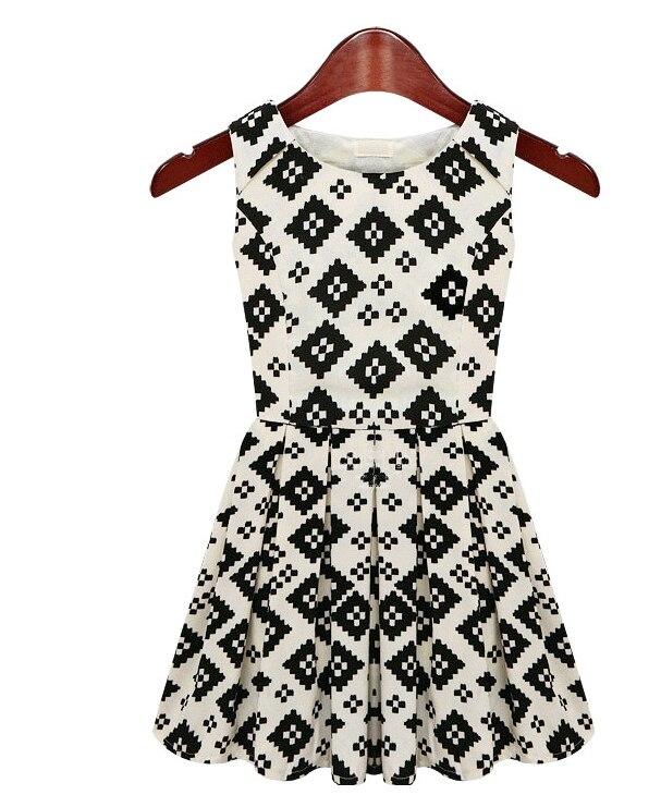 New Arrival Summer European Fashion Sleeveless Dress Geometric Mini Tank Brief Casual Dresses 2 Colos WF-4610