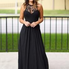 Black Maxi Long Bridesmaid Dresses Sleeveless Sexy Back Floo