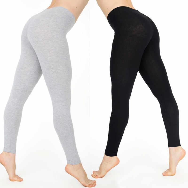 0aa4fab60a ... Elastic High Waist Women Full Length Skinny Pencil Pants Cotton Solid Fitness  Leggings Trousers Female Plus