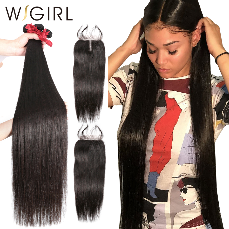 9A Long 28 30 32 40 Inch 3 4 Brazilian Hair Weave Bundles With 4X4 Lace Closure Raw Virgin Straight Human Hair Extension Weaves