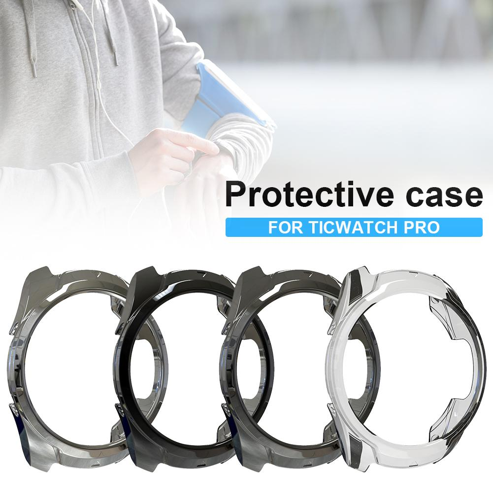 New Smart Watch Protective Case Soft TPU Plated Protector Rugged Cover All-Around Protector Cover Scratch-Proof For Ticwatch Pro