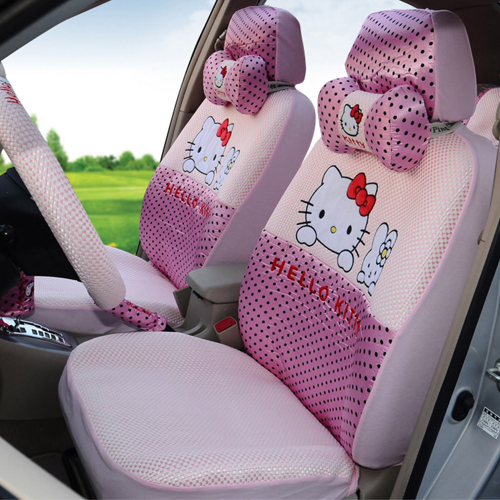 Girls 39 women 39 s cute cartoon hello kitty pink universal car for Housse de voiture hello kitty