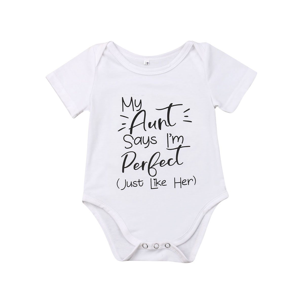 White Baby Bodysuit With My Grandma Think/'s I/'m Perfect in Black Lettering