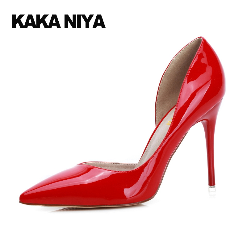 Women Thin 2017 Summer Red Patent Leather D'orsay High Heels Pointed Toe Pumps 9cm 4 Inch Extreme Sexy White Shoes Fashion Slip 9 0 inch activ leather red 38392