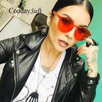 Coodaysuft Women Cat Eye Shades Luxury Sun Glasses Integrated Eyewear Candy Color UV400 Brand Designer Sunglasses