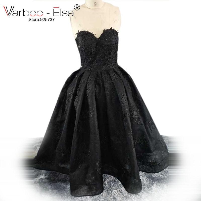 ca4c9d4fb0 VARBOO ELSA vestido de festa Sexy Strapless Evening Dresses Black Organza Party  Ball Gown Lace Appliques Sweetheart 2018 Custom