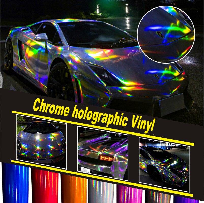 5ft X 65ft voiture wrap film holographique Arc-En-Autocollant Car styling film noir, argent chrome vinyle feuille étirement mise à niveau vinyle