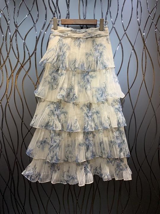 Summer 2019 New Girl Slacky Waist Cake Layer Lotus Leaf Edge Mosaic Printing Mid long Half length Skirt 513-in Skirts from Women's Clothing    1