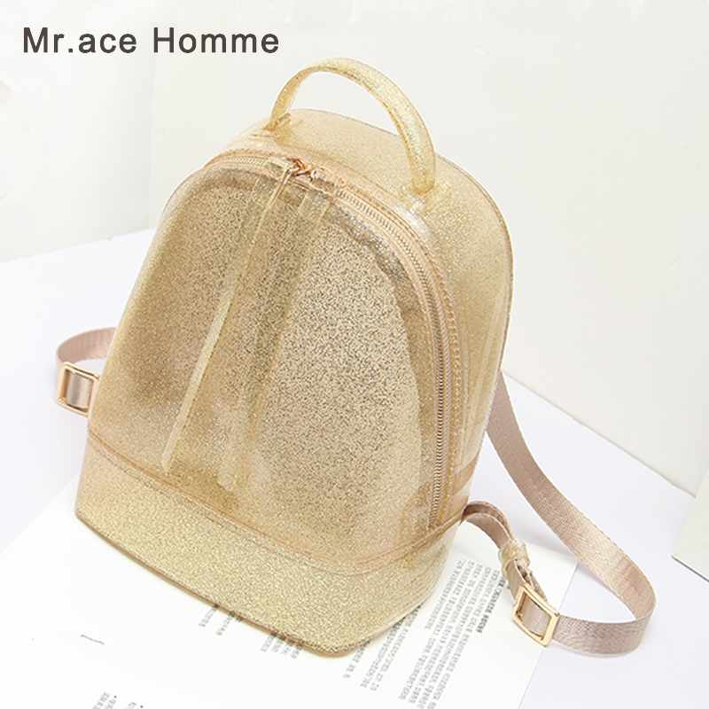 New Glitter Women Jelly Backpacks Candy Color PVC Jelly Bag Mini Girls Waterproof Silicone Shoulder School Bling Bags