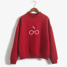 New Kpop Glasses Printed Hoodies Velvet Hoodies Autumn and Winter New Products