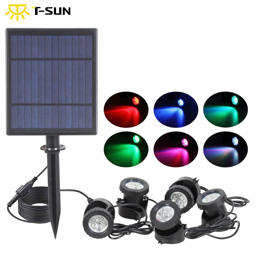 T-SUNRISE 5W Solar Panel Waterside Landscape RGB LED Lights Waterproof IP68 Outdoor 5 Lamps Spot Light For Garden/pond/road