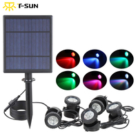 T SUNRISE 5W Solar Panel Waterside landscape RGB LED Lights Waterproof IP68 Outdoor 5 Lamps Spot Light for Garden/pond/road