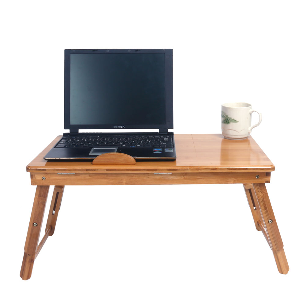 53cm Foldable Laptop Desk Bamboo Folding Table Adjustable Computer Desk with Cup Stand Hollowed out Pattern Wood US Stock