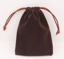 1 PCS Brown Velvet Jewelry Gift Bag Pouch Drawstring Pouches Handmade 9X12cm